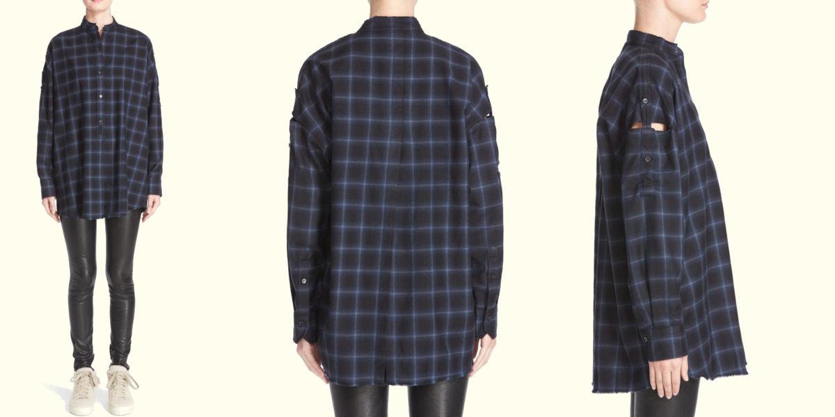helmut lang open back plaid flannel shirt