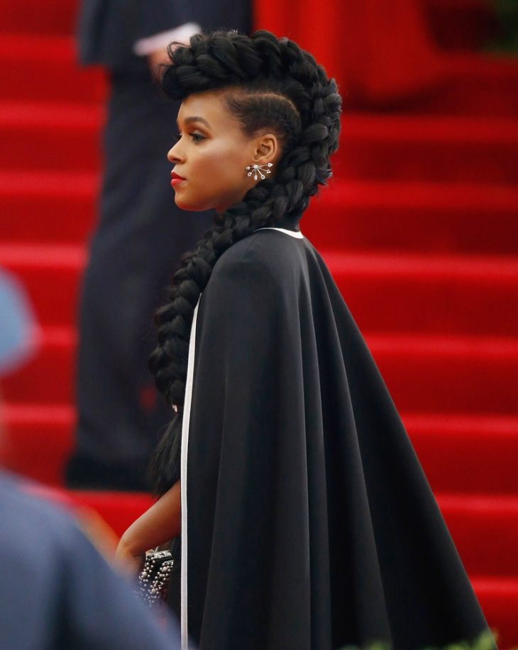 janelle monáe french braided mohawk hairstyle