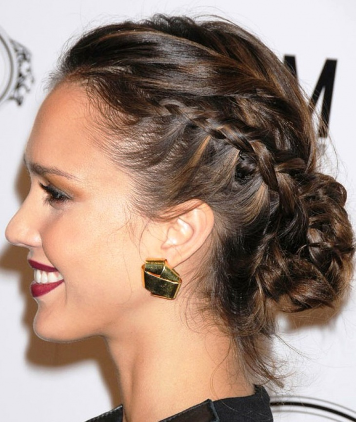 Jessica Alba Braided Bun Updo Hairstyle