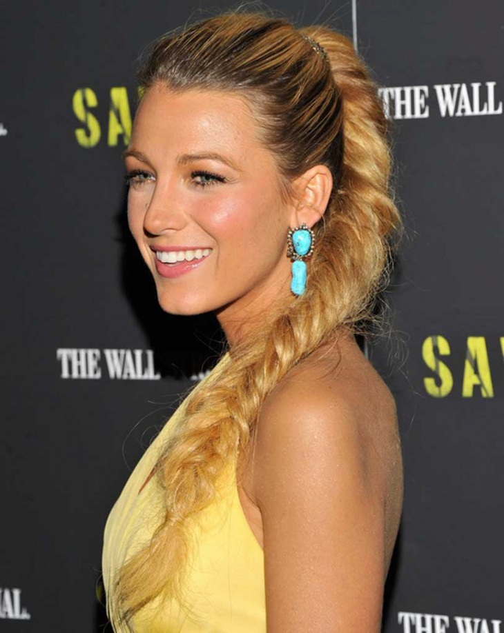 blake lively french fishtail braid hairstyle
