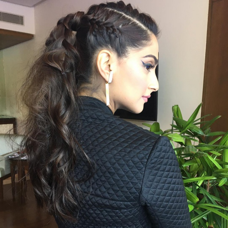 high braided ponytail hairstyle