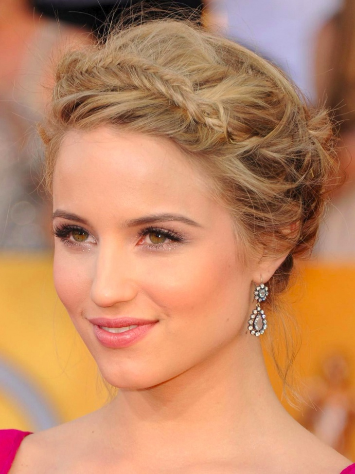 Dianna Agron Braided Headband Prom Hairstyle
