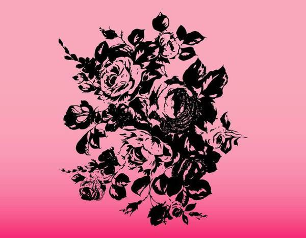 Black Rose Bouquet Vector