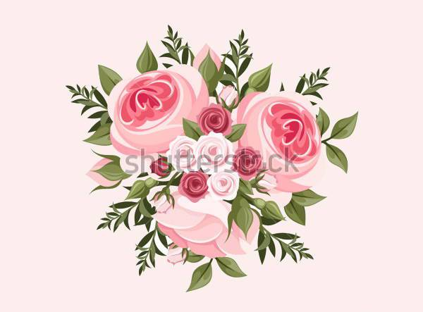 Pink Rose Bouquet Vector