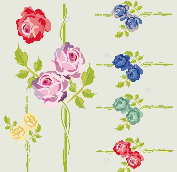 Vintage Rose Flower Vine Vector