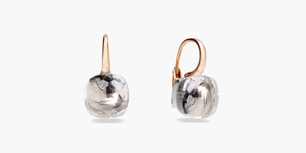 pomellato nudo clear topaz rose gold earrings