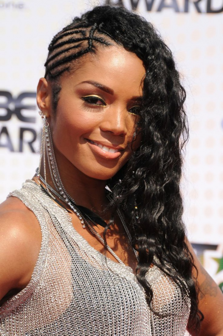 rasheeda twist side braid hairstyle