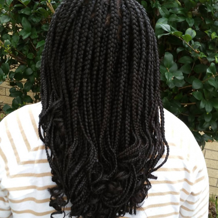 black curly hairstyle with braids