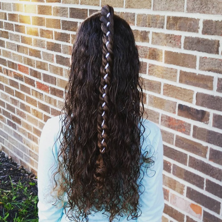 long curly hairstyle with braids