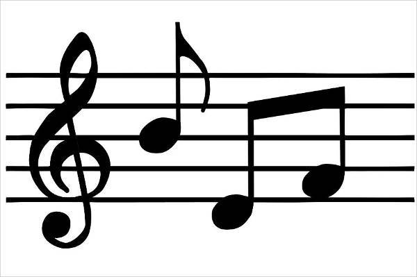 black and white music note clipart