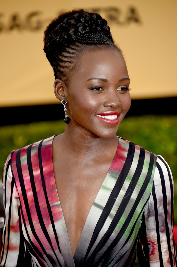 Lupita Nyong'o's Cornrow Braided Bun Hairstyle