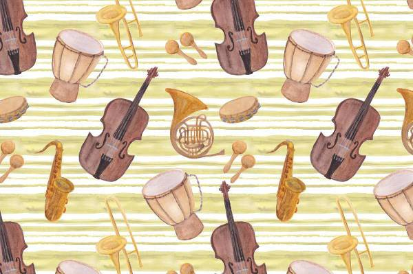 watercolor music instruments clipart