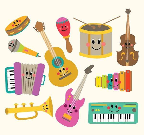 colorful music instruments clipart