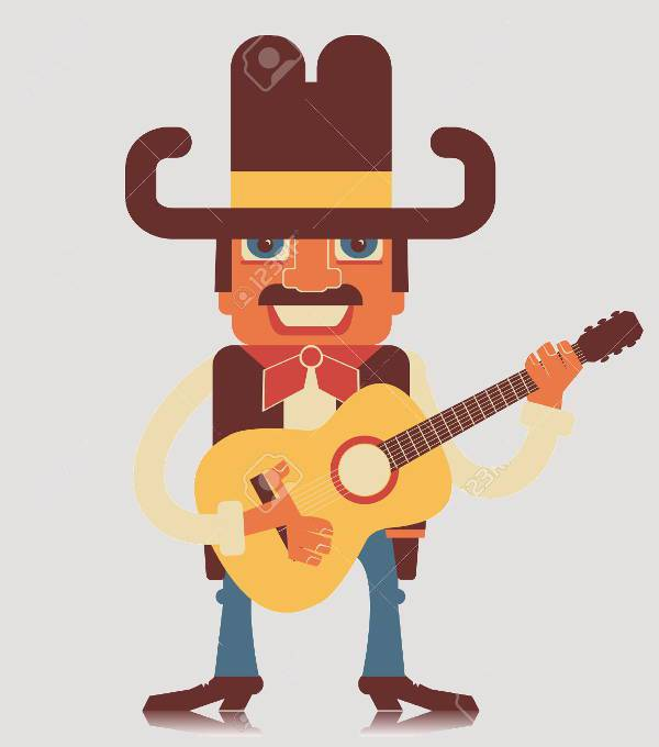 country guitar music clipart