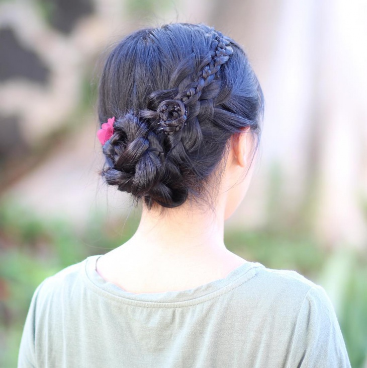 black dutch braid hairstyle
