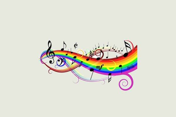 colorful rainbow music clipart