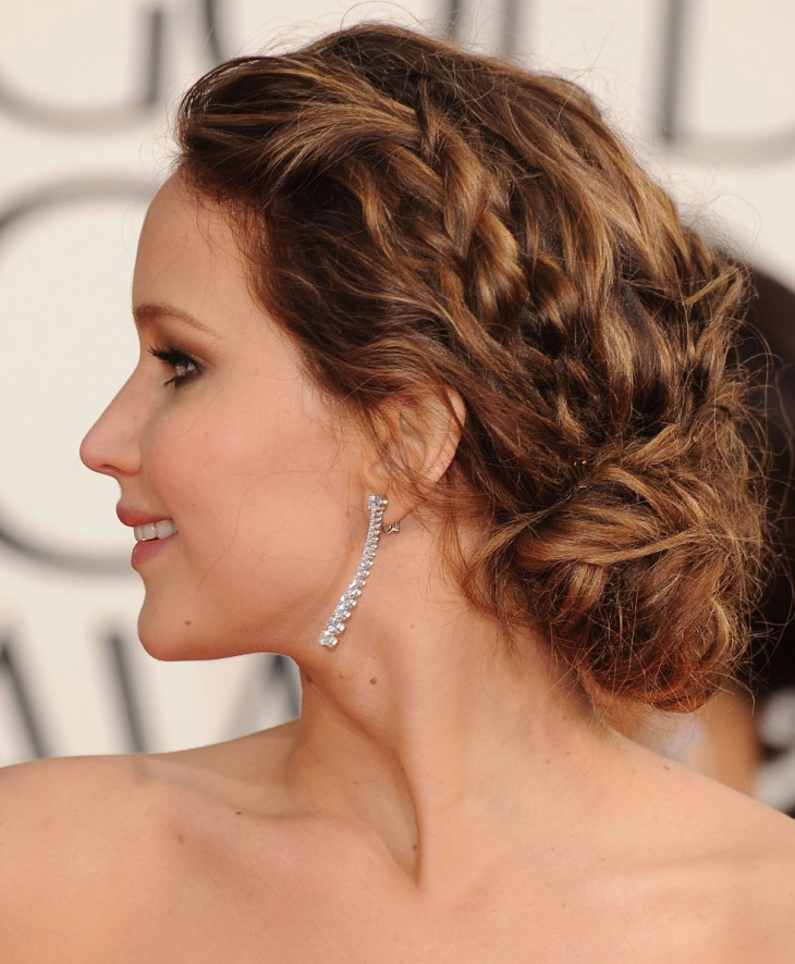 jennifer lawrence messy braided bun hairstyles