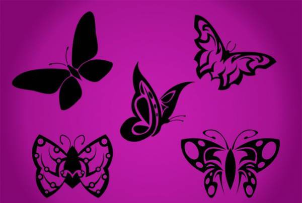 tribal black butterfly silhouette