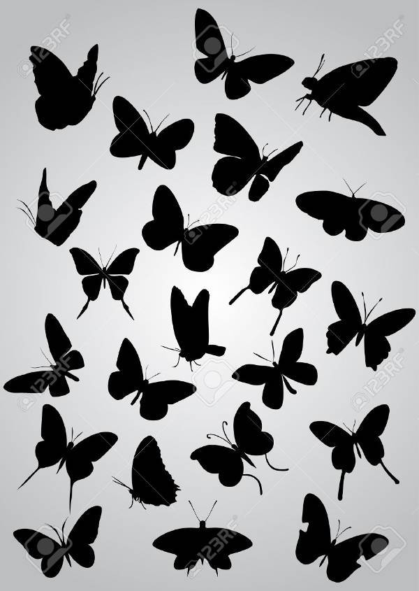 free flying butterfly silhouette