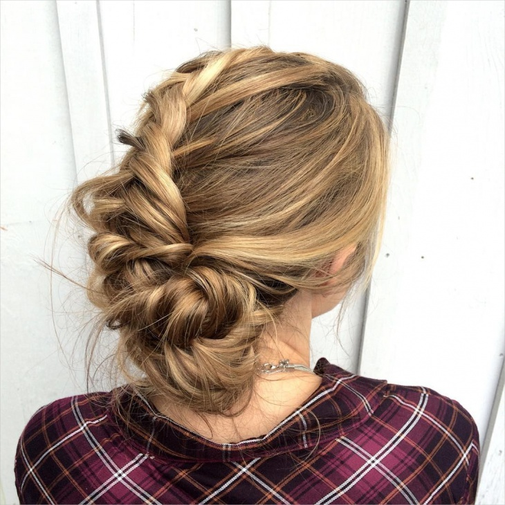 Messy Braid Updo Hairstyle