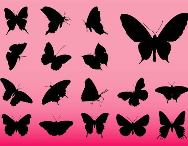 free vector butterfly silhouette