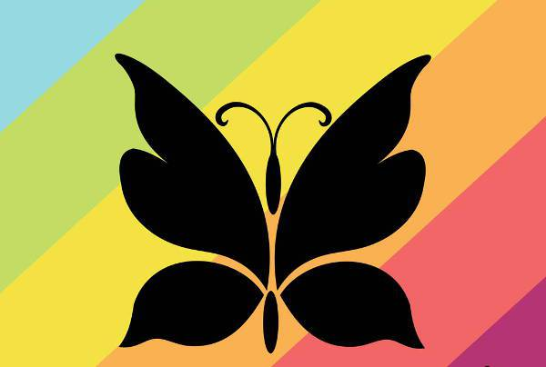 colorful vector butterfly silhouette
