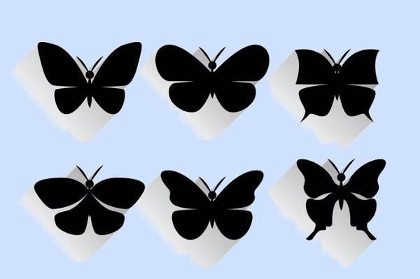 black butterfly wings silhouette