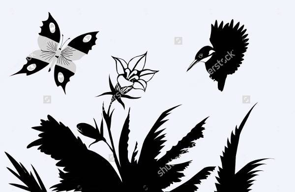 black butterfly with flower silhouette