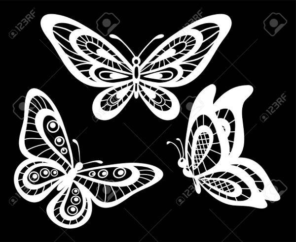 white lineart butterfly silhouette