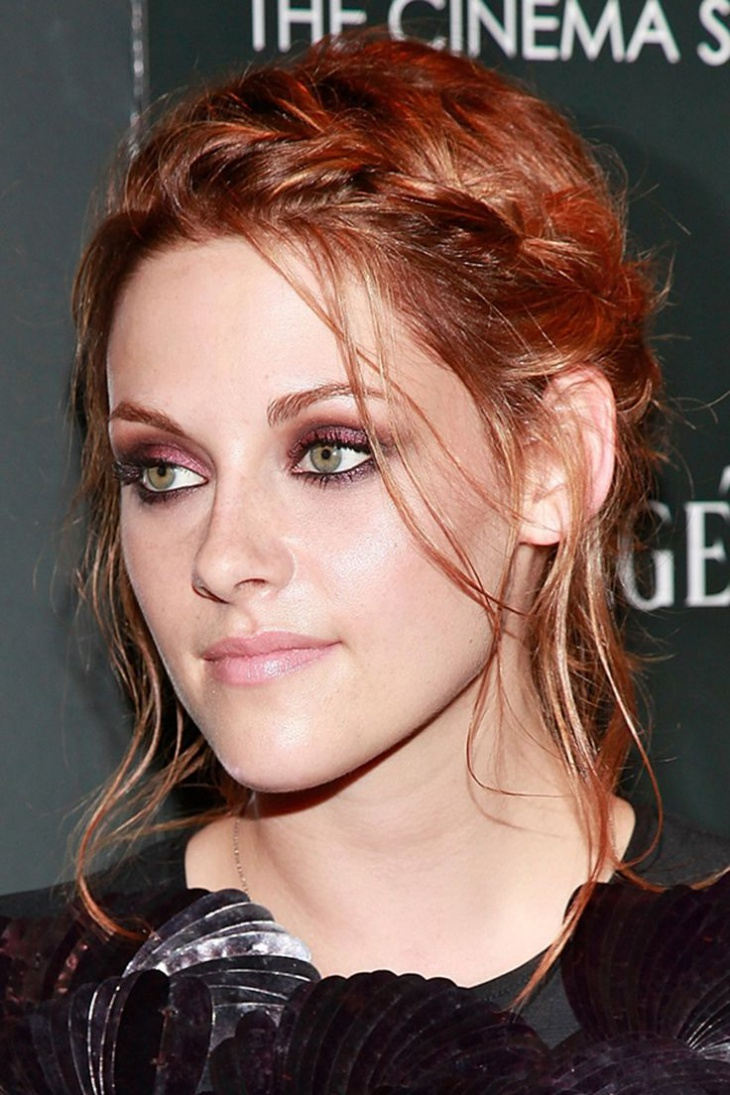 kristen stewart braided bangs updo hairstyle