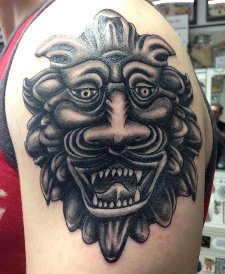3d lion head tattoo design