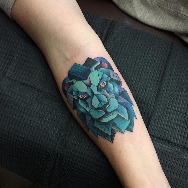 geometric lion head tattoo design