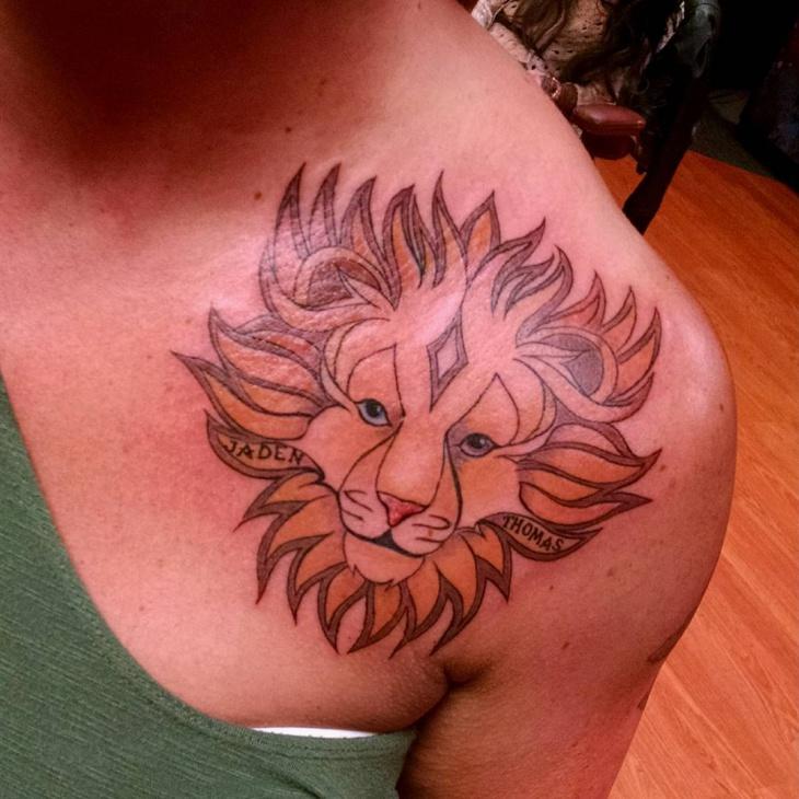 shoulder lion tattoo for women