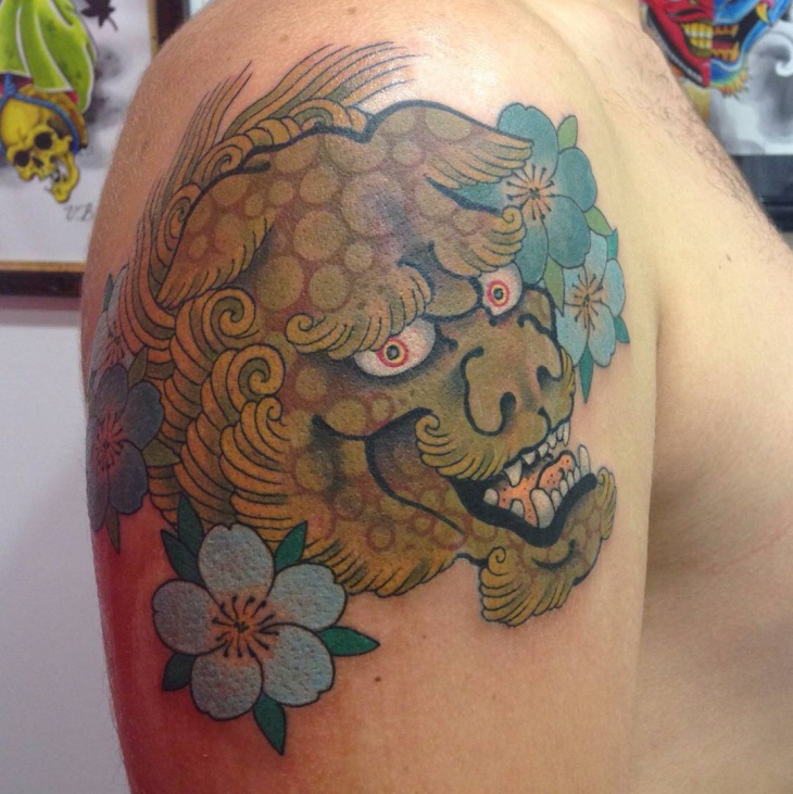 Traditional Japanese Lion Tattoo