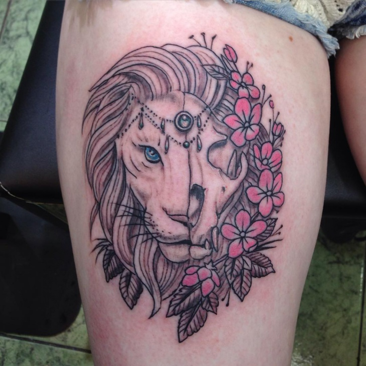 Lion Skull with Flowers Tattoo