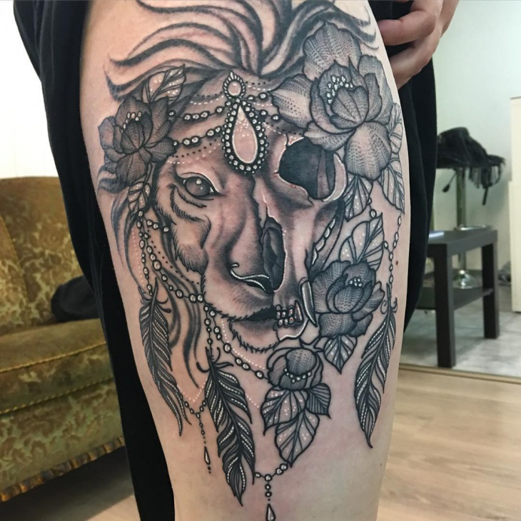 Black and Gray Lion Skull Tattoo