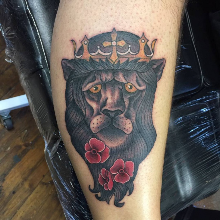 King Lion and Flower Tattoo Design