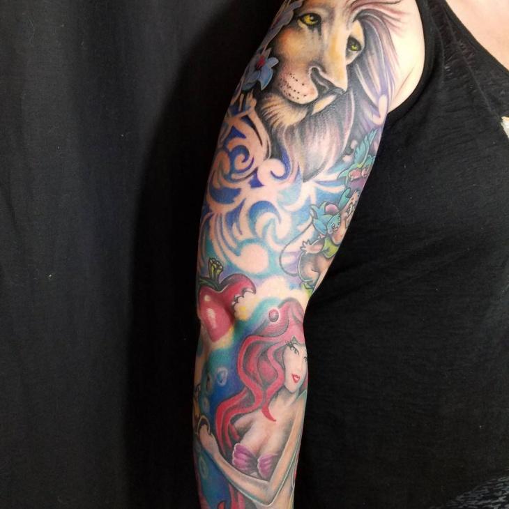 lion full sleeve tattoo design