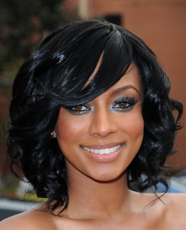 Keri Hilson Short Curly Sew in Weave Hairstyle
