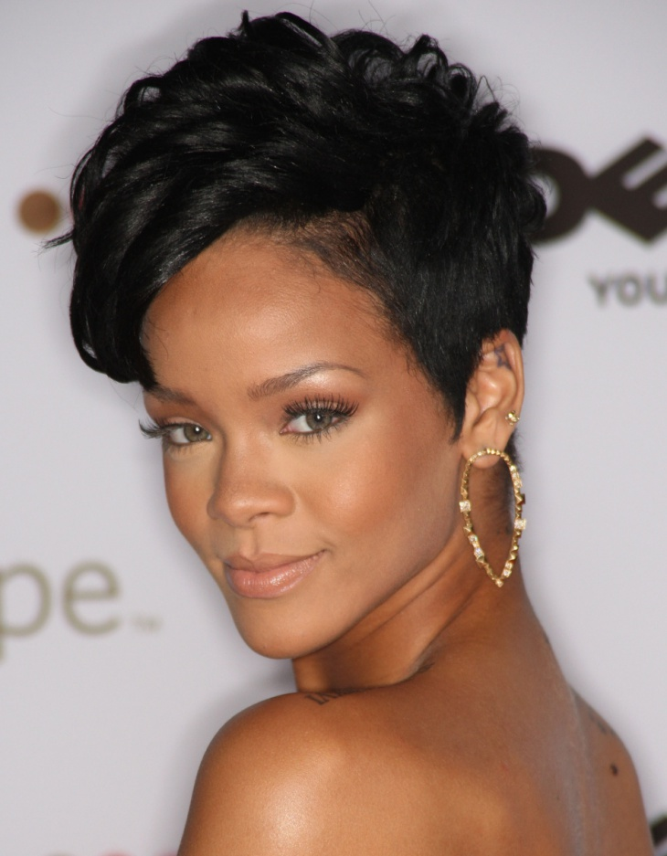 Rihanna Short Curly Hairstyle For Black Women