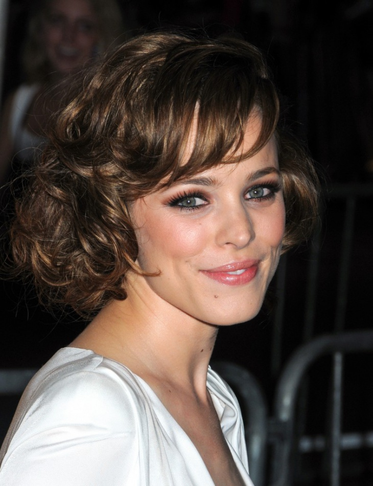 Rachel McAdams Short Curly Bob Hairstyle with Bangs