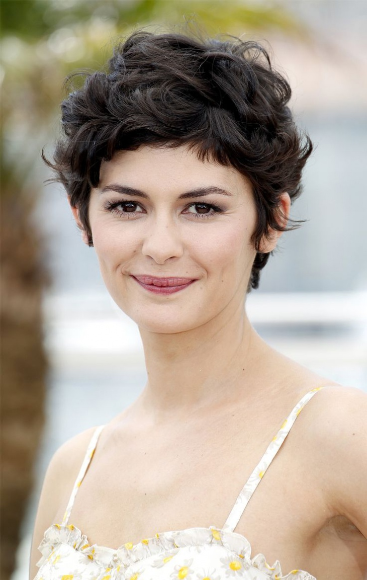 Audrey Tatou Short Curly Pixie Hairstyle