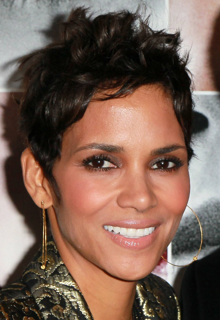 Halle Berry Short Curly wavy Pixie Hairstyle