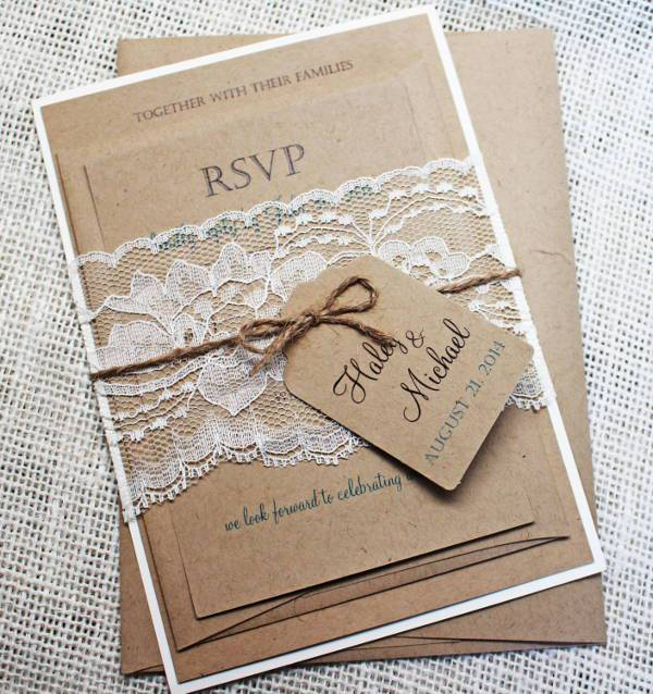15 Rustic Wedding Invitations Printable PSD AI Vector EPS