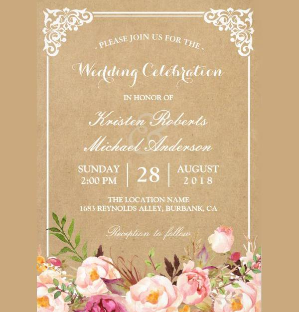 vintage rustic floral wedding invitation