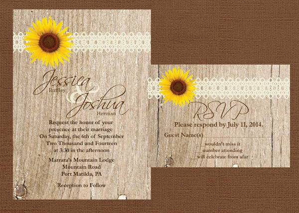 diy rustic wood wedding invitation1