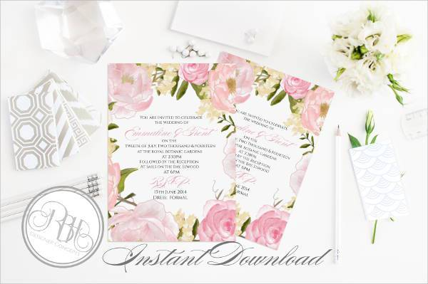 printable pink rustic wedding invitation