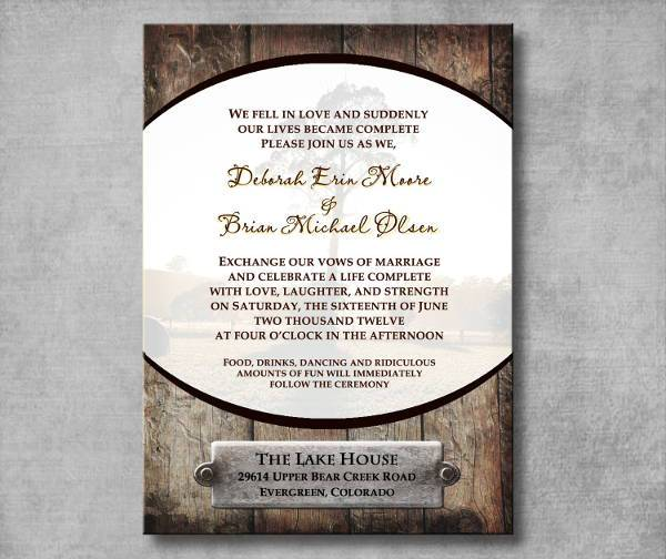 prtintable rustic western wedding invitation