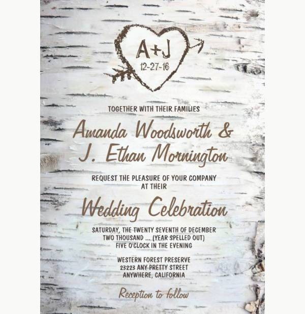 country rustic bark tree wedding invitation