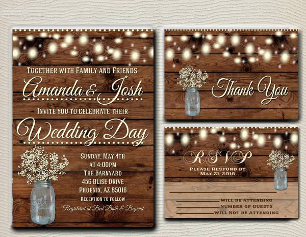 country lights rustic wedding invitation